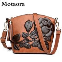 MOTAORA New Chinese Style Women Crossbody Bag High Quality Leather Shoulder Bag Ladies Vintage Embossed Tassel Shell Bags Female