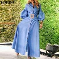 Elegant Office Ladies Dress Women Long Dresses 2021 VONDA Ladys Puff Sleeve Lapel Collar Sundress Vestido S-