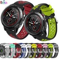 BEHUA-시계 밴드 22MM huami Amazfit Stratos 3 2 2s 페이스 실리콘 교체 시계 스트랩, Huawei Watch 2 Classic