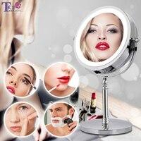 빛 LED 화장 용 거울을 가진 10X 돋보기 메이크업 거울 둥근 모양 탁상용 허영 거울 두 배 편 들어 진 백라이트 거울