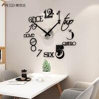 MEISD 숫자 DIY 무음 아크릴 대형 장식 벽시계, 현대 디자인 거실 시계 블랙 미러 스티커 Horloge 인기