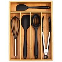 5 그리드 주방 수저 보관 상자 대나무 칼 트레이, 접을 수 없는 숟가락 포크 식기 정리 보석 서랍 도구