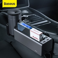 Baseus מתכת רכב סיאט ארגונית אוטומטי מושב אחסון תיבת כיס עבור ארנק מטבעות מפתחות כרטיס כוס טלפון מחזיק עם יציאות USB כפולה