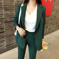 Blazer pants suit set women office suits High quality solid color long sleeve blazer Casual pants two-piece 2021 autumn new