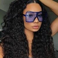 בציר גדול כיכר משקפי שמש נשים למעלה באיכות משקפי Mens Oversize שמש משקפיים נקבה אופנה מפורסם מותג שחור Eyewear