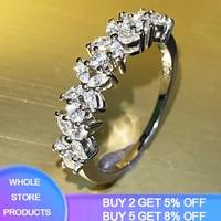 YANHUI oryginalny 925 srebrny pierścień 2021 nowy unikalny projekt pierścień CZ betonowa austriacka cyrkon moda kobiety pierścień biżuteria ślubna