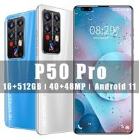 2021 neue Ankunft P50 Pro Smart Telefon 16GB RAM 512GB ROM 7,8 Zoll Großen Bildschirm 40 + 48 MEGAPIXEL 5G LTE Andriod 11 Gesicht Entsperren Handys