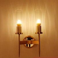 JUSHENG LED 현대 벽 램프 돌출 유리 벽 거울 베니티 전등 E27 전구, 침실 거실 골드