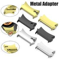 2 Pack 금속 스테인레스 스틸 곡선 커넥터 삼성 갤럭시 시계 4 클래식 46mm 42mm 삼성 갤럭시 시계 4 44mm 40mm