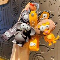 New Popular Ugly Cute Big Eye Bull Keychains Cute Elephant Lion Key Chain Silicone Cartoon Animal Keyring Bag Pendant Pendant