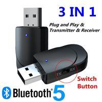 KN330 3 IN 1 USB Bluetooth-kompatibel 5 Audio Receiver Transmitter 3,5 AUX Jack RCA Stereo Wireless Adapter Für TV PC Auto Musik