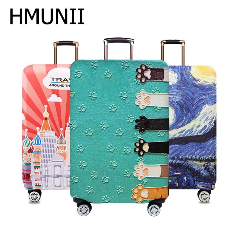HMUNII Welt Karte Design Gepäck Schutzhülle Reise Koffer Abdeckung Elastische Staub Fällen Für 18 zu 32 Zoll Reisen Zubehör
