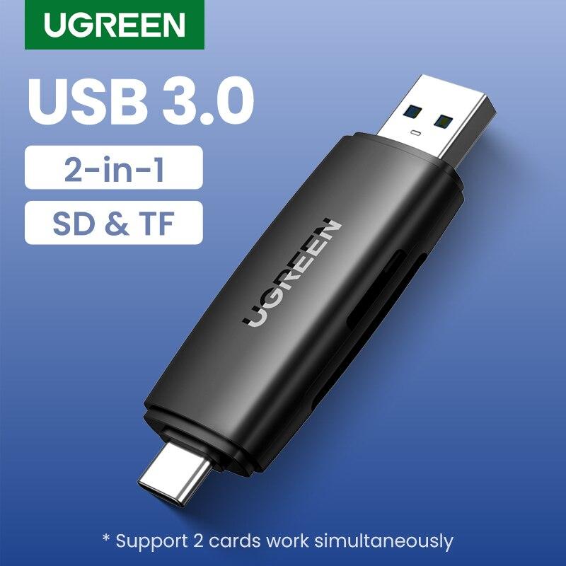 Ugreen-lector de tarjetas USB 2 en 1 tipo C, adaptador USB 3,0 a SD, Micro SD, TF, para ordenador portátil y teléfono, OTG, lector de tarjetas de memoria inteligentes