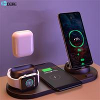 DCAE 6 in 1 Wireless Ladegerät Dock Station für iPhone/Android/Typ-C USB Handys 10W qi Schnelle Lade Für Apple Uhr AirPods Pro