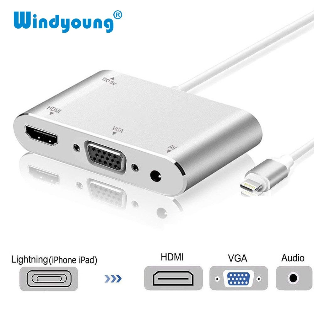 HDTV-Cable OTG para iPhone Lightning a VGA, Conector de Audio de 3,5mm, adaptador compatible con HDMI para iPhone/iPad