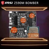 MSI Z590M BOMBER Gaming Motherboard + Intel Core i7 11700K Motherboard Combo i7 Intel Z590 Placa-mãe 1200 DDR4 PCI-E 4,0 M.2