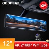 OBDPEAK H6 IMX415 4K Auto Video Stream Media Recorder 12'' Rückspiegel Dvr 3840*2160P GPS Nacht vision Auto Reverse DashCam