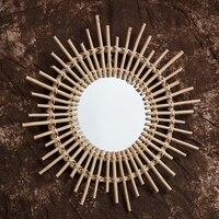 자연 등나무 혁신적인 예술 장식 화장 거울 드레싱 거실 욕실 벽걸이 공예 사진 소품