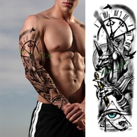 Waterproof Temporary Tattoo Sticker Anubis Ancient Egypt Dog Roma Clock Eye Full Arm Fake Tatto Flash Tatoo Sleeve for Men Women