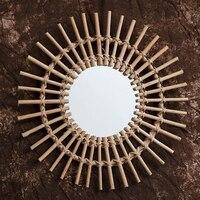 등나무 혁신적인 예술 장식 라운드 메이크업 거울, 드레싱 벽걸이 거울 11UA