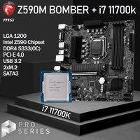 LGA1200 MSI Z590M BOMBER Motherboard Set + Intel core i7 11700k Kit DDR4 128Gb(OC) m.2 PCI-E 4,0 Z590 Placa-Mãe Desktop Intel Z590