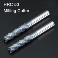 HRC50 1 2 3 4 5 6 8 10mm קרביד כרסום כלי חיתוך סגסוגת טונגסטן פלדת כרסום קאטר EndMills CNC מכונה טחנות סוף מתכת