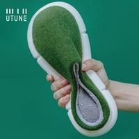UTUNE Winter Felt Slippers Women Indoor Men Home Shoes Warm EVA Soft Platform Shoes Furry Slides Pantuflas de mujer Mules Green