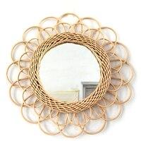 자연 등나무 혁신적인 예술 장식 메이크업 거울, 드레싱 벽걸이 H58C