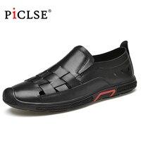 Luxury Brand Genuine Leather Men's Sandals Moccasins Men Business Dress Sandals Italian style Casual Leather shoes Men Sandalias