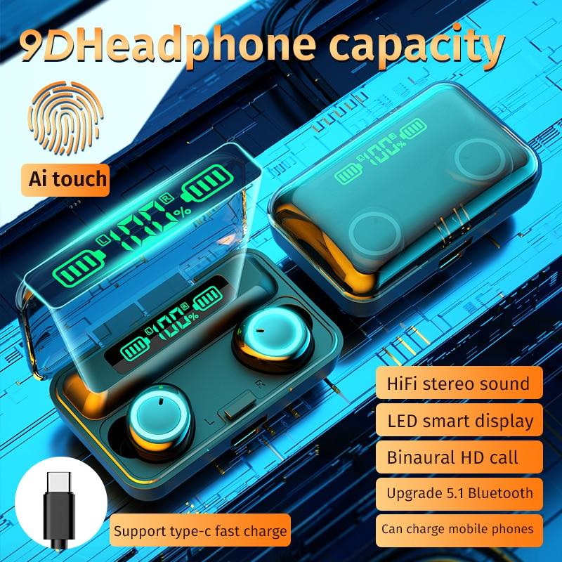Auriculares TWS con Bluetooth 5,1, cascos inalámbricos con cargador, estéreo 9D, deportivos, resistentes al agua, con micrófono, novedad