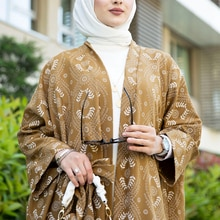 Modelado quimono muçulmano abayas terno hijab vestido 2 peças inferior e superior moda 4 temporada roupas islâmicas caftan ramadan dubai