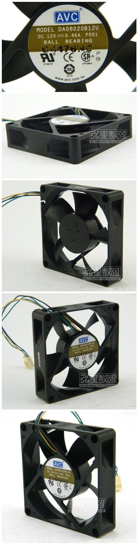 Wholesale AVC DA080B12U 8cm 80 80*80*mm 12V 0.46A 4-line PWM Tempreture Control CPU chassis cooling fan
