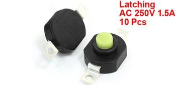 10Pcs AC 250V 1 5A Horizontal Latching Type Flashlight Push Button