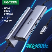 UGREEN USB C HUB 4K 60Hz Typ C zu HDMI 2,0 RJ45 USB 3,0 PD 100W Adapter für Macbook Air Pro iPad Pro M1 PC Zubehör USB HUB