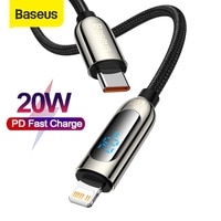 Baseus 20W PD USB C Kabel Schnelle Ladekabel für iPhone 12 11 Pro Max XR Digital Display Mobile telefon Daten Draht Kabel für iphone